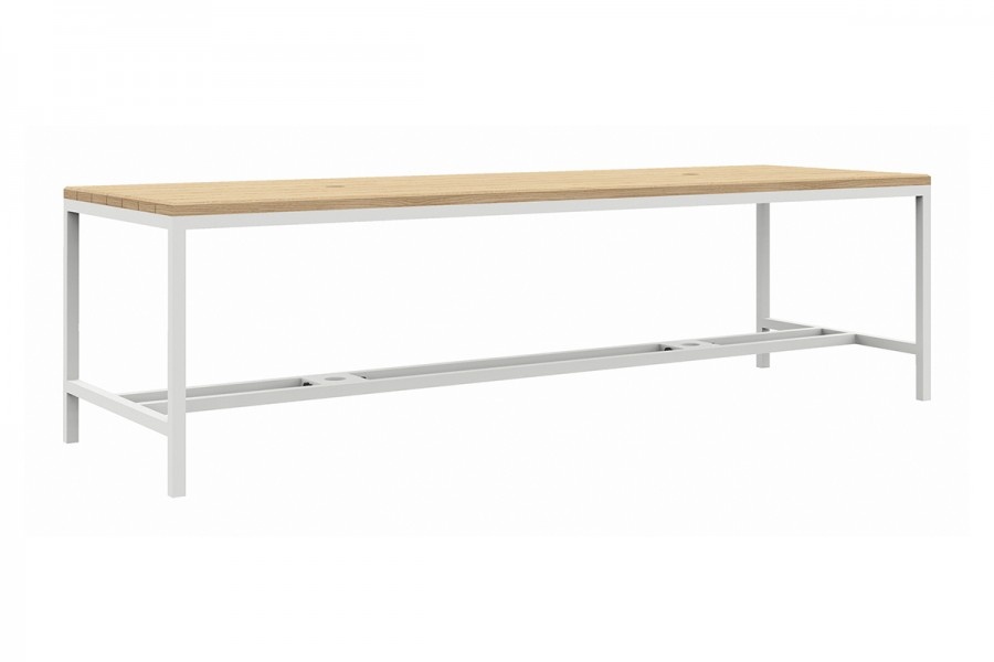Brooklyn light: strakke houten tafel met poten in metaal – 2600 / 3200 / 4000 mm